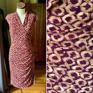 LAUREN Ralph Lauren Ruched Faux Wrap Dress Geometric Purple Size 8