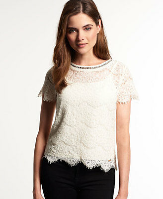 Neues Damen Superdry Lacy Jewel Shell Top Off Weiß