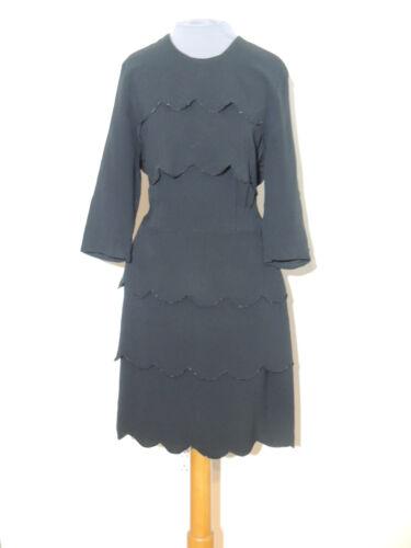 1940's WW2 Era Black Rayon Beaded Scalloped Dress