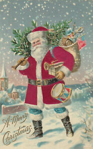 Christmas-Patriotic-SILK-Santa-Claus-Blue-Pants-w-Flag-Toys-1909-Postcard-m372