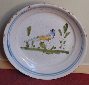 rare-assiette-faience-CLAMECY-18-eme-decors-oiseaux-sur-terrasse-bon-etat