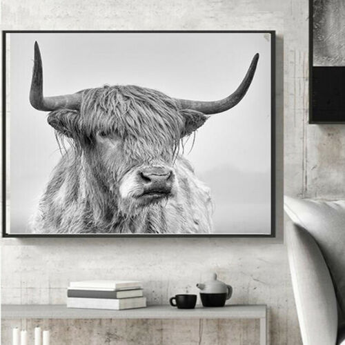 Highland Cow Yak Canvas Painting Wall Art Picture Poster Home Decor Decorations