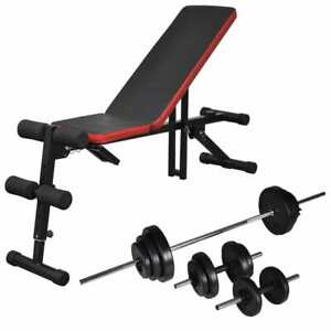 vidaXL-Adjustable-Sit-up-Bench-with-Barbell-and-Dumbbell-Set-30-5kg-Fitness
