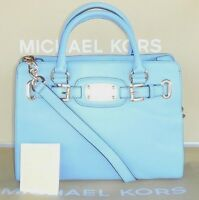 Michael Kors Hamilton Md Ew Tote Leather Tote Powder Blue Retail $328.00