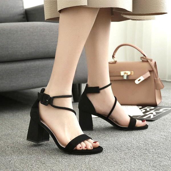 sabot slippers 7 cm elegant schwarz heel square Sandale like Leder 9958