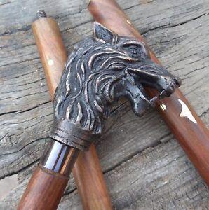 Solid-Wolf-Head-handle-Vintage-Cane-Walking-Stick-Designer-Style-Antique-Style
