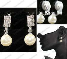 CLIP ON small 2cm drop PEARL EARRINGS silver rhinestone crystal CLIPS
