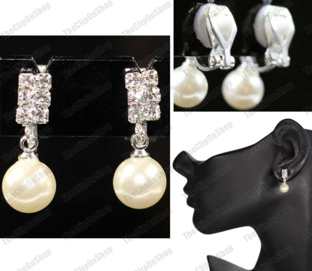 CLIP ON small 2cm drop CREAM PEARL EARRINGS silver rhinestone crystal CLIPS