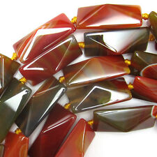 """40mm faceted brown agate rectangle beads 15.5"""" strand"""
