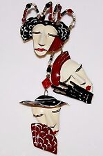 LUNCH AT THE RITZ Fancy Hats 3 Lady Faces Dangling Brooch, 1988, LATR