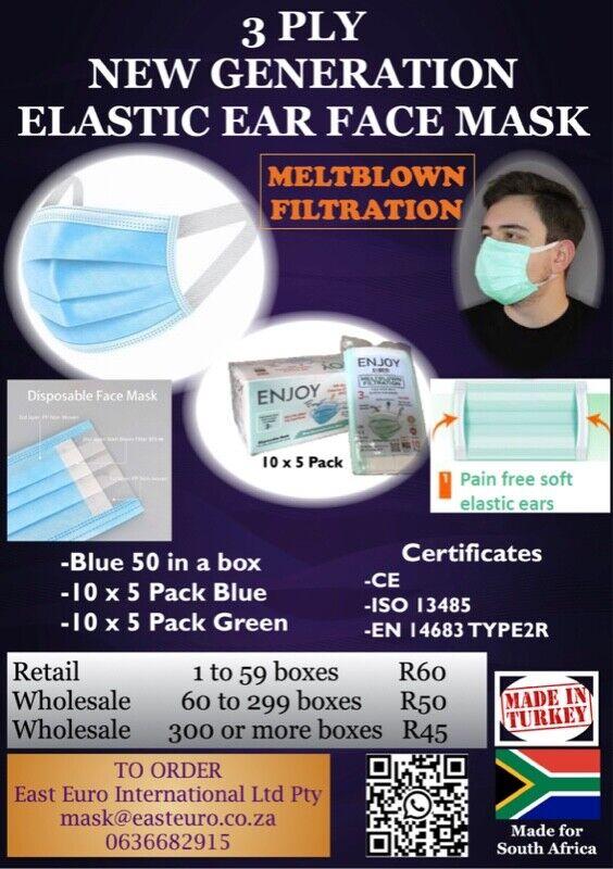 5 SEALED PACKAGE / ELASTIC EAR FACE MASK OF 50-MELTBLOWN FILTRATION