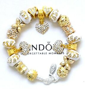Details About Pandora Bracelet Silver Gold White Heart European Charms New