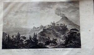 Incisione all'acquaforte su rame Vesuvio da Torre del Greco da Saint Non 1786