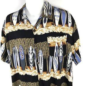 Mens-Hawaiian-Aloha-Shirt-Medium-Rayon-Surfboards-Coconut-Buttons-Back-from-Bali