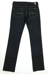 EUC-7-for-All-Mankind-Gold-Trim-Slim-Leg-Women-039-s-Dark-Blue-Jeans-W26-x-L33