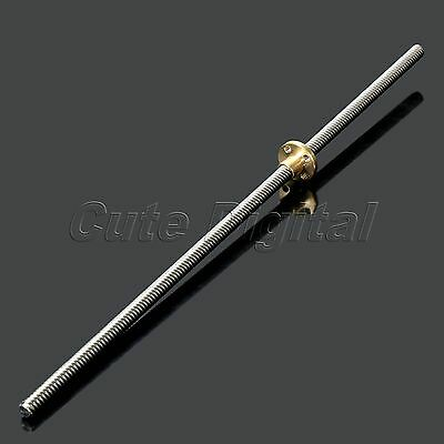 T8-2 8mm 3D Printer Lead Threaded Screw Rod Linear Rail Bar Shaft with Brass Nut