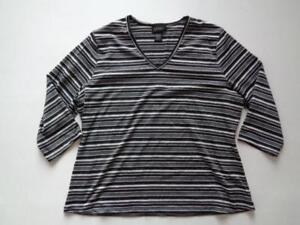 Lane-Bryant-V-Neck-Black-Silver-Gray-White-Striped-3-4-Sleeve-Shirt-Top-Sz-14-16