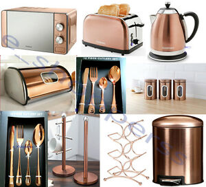 Copper-Microwave-Diamond-Kettle-2-Slice-Toaster-16pcCutlerySet-amp-3-Canisters-SET