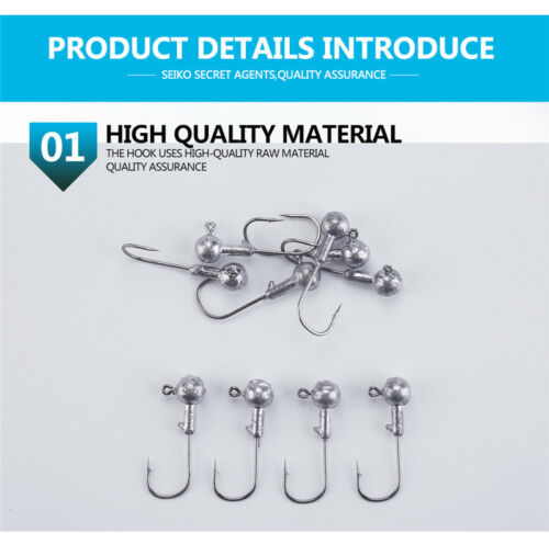 45pcs Lead Round Head Fishing Hook Jig Bait Soft Lure Barbed Hook Fishing Tackle