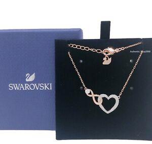New-SWAROVSKI-Rose-Gold-Sparkle-Crystal-Infinity-Heart-Pendant-Necklace-551865