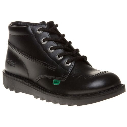 New Boys Kickers Black Kick Hi Core Leather Boots Lace Up