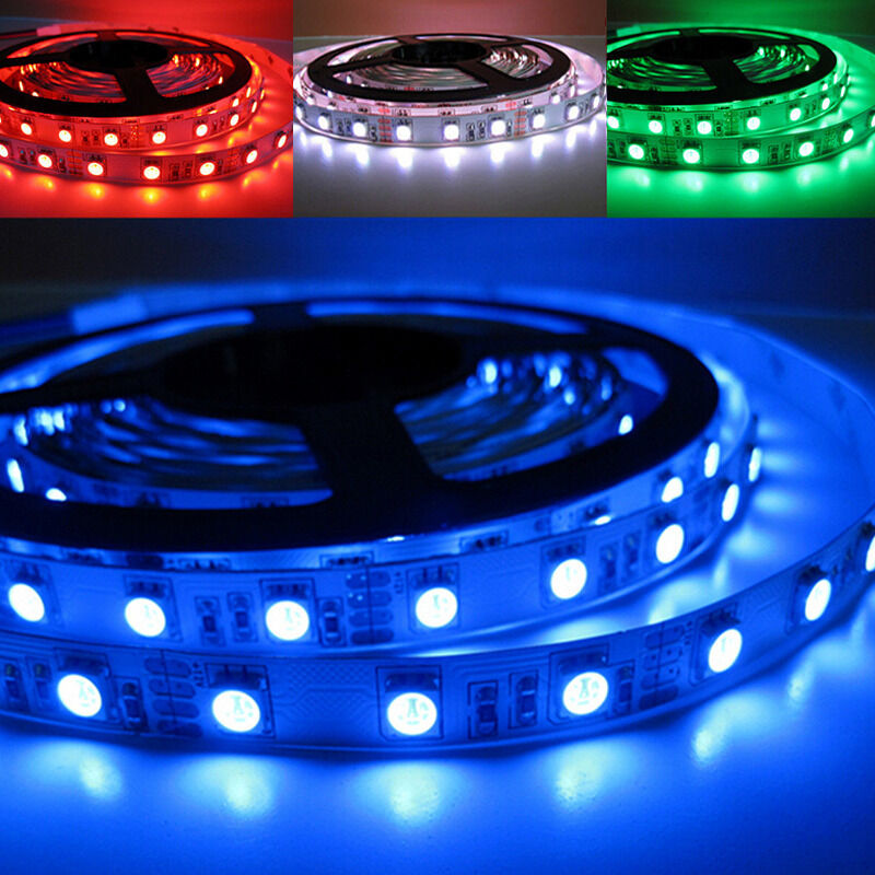 5M 3528 5050 5630 RGB 300 Led SMD Flexible Light Strip Lamp+ IR+12V Power Supply