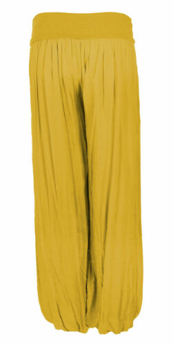 Women Italian Lagenlook Quirky Layer 100/% Cotton Puffball Palazzo Trousers Pants