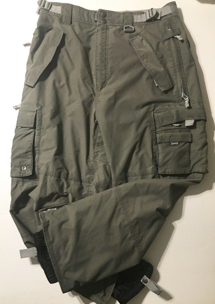 Planet Earth Men's Snowboard Ski Cargo  Pants, Forest Green, Waterproof - L  welcome to order