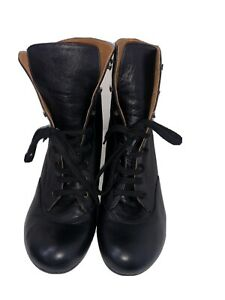Chie-Mihara-black-leather-lace-up-heel-boots-Low-Heels-size-UK-9-42-Brand-New