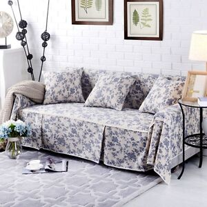 Image Is Loading Floral Cotton Linen Slipcover Sofa Cover OusL Protector
