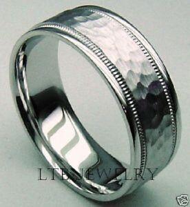 Hammered 7 5mm 10k White Gold Mens Wedding Bands Rings Ebay