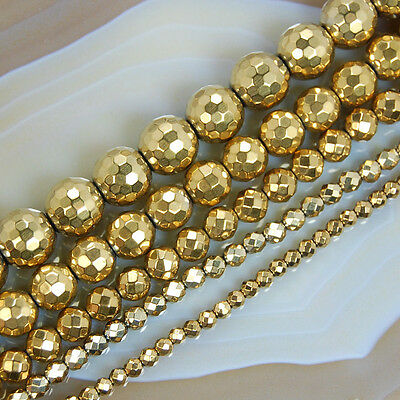 """6MM GOLD HEMATITE GEMSTONE FACETED ROUND LOOSE BEADS 16/"""""""
