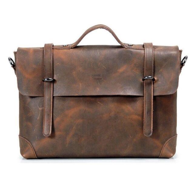 "Men's Crazy horse Leather Cowhide Vintage Briefcase 14"" Laptop Messenger Bag 061"