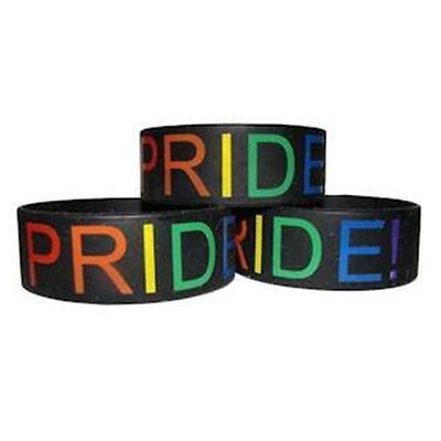 Gay Pride Rainbow PRIDE Wide Band Silicone Bracelet Resistance LGBTQ Rights
