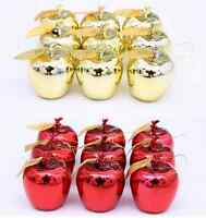 12Pcs Christmas Tree Decorations Red Gold Xmas Apple Baubles