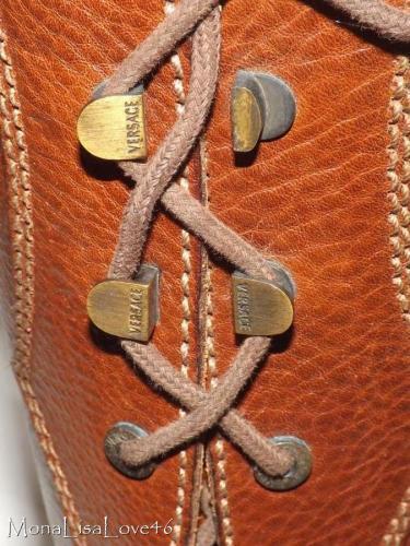 Vintage Cuero Versace Cuero Vintage Marrón Rodilla Alto Bota De Estilo Militar Con Cordones De Talla 12 42 Nuevo ae0161