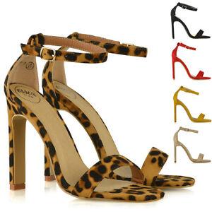 Para-mujer-apenas-hay-Sandalias-De-Tacon-Alto-Puntera-Abierta-Tiras-Partido-de-las-Senoras-Zapatos