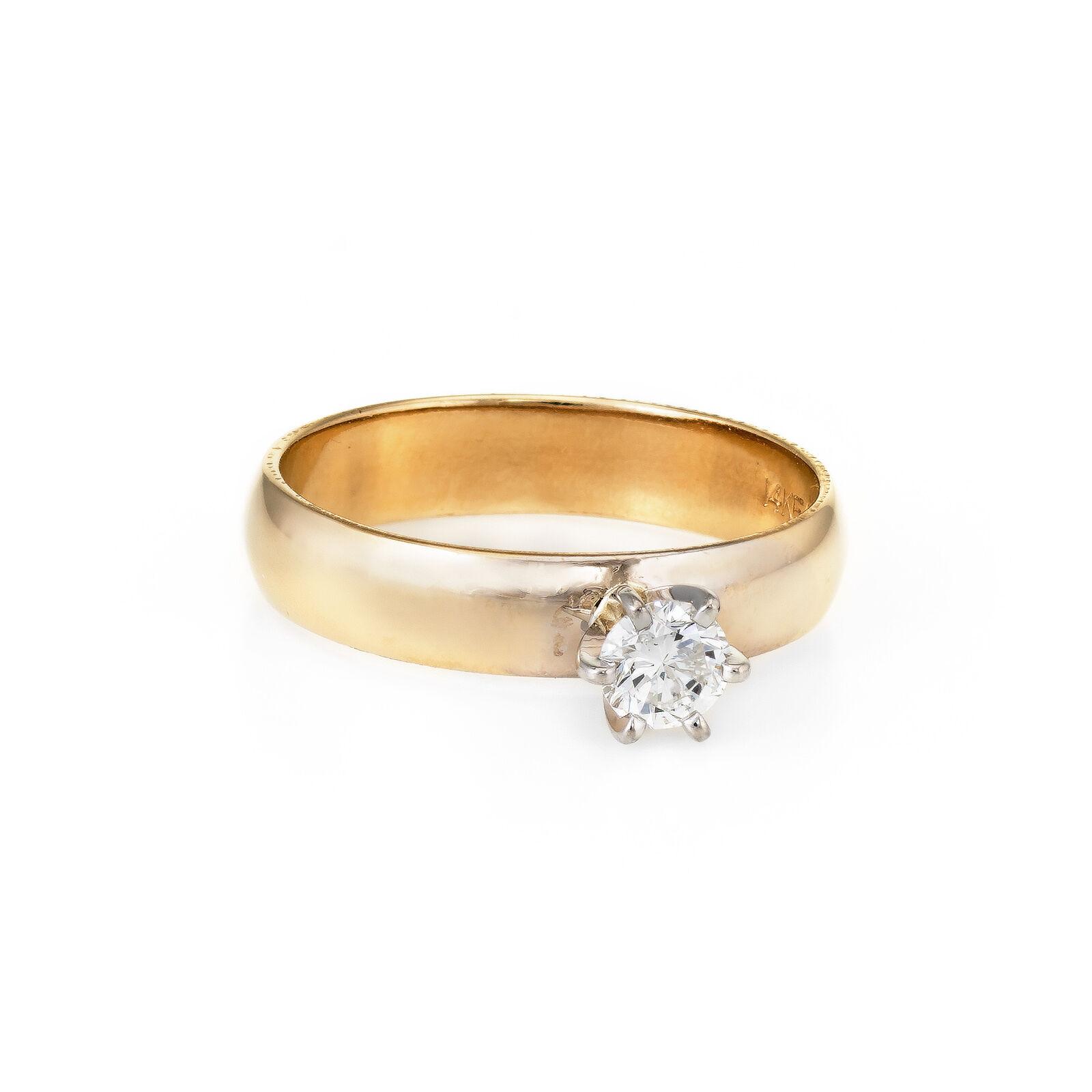 Diamond Engagement Ring Vintage 14k Yellow gold Estate Fine Jewelry Sz 5.5