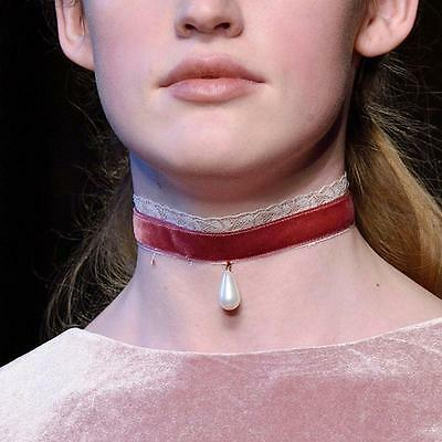 Pretty Velvet Lace Silver Chain Choker Pearl Pendant Necklace Gothic Jewelry