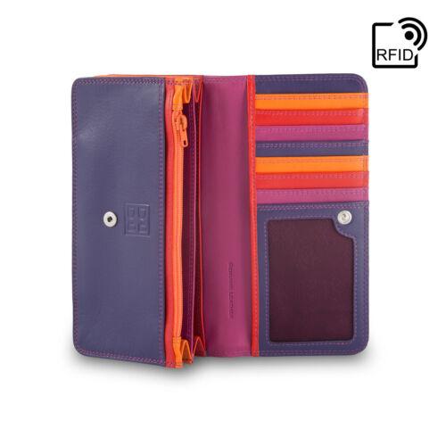 DuDu Portafoglio in Pelle RFID da donna Fucsia Multicolore con patta e bottone