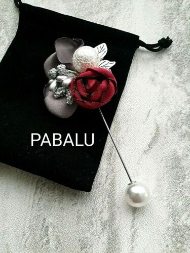 White Pearl Beaded Lapel Brooch Pin 003 With Gift Pouch Red Rose /& Zircon