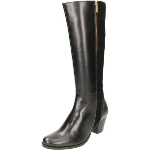 Suede Black Wide Fit Plus Boot Heeled Comfort Leather Mid Knee Block High Boots qvwA5S
