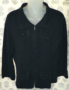 WILLI SMITH Women's Large Black Knit Silk Rayon Nylon LS Sweater Shirt Top EUC