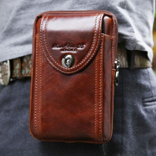 Men/'s Genuine Leather Cowhide Vintage Belt Pouch Purse Fanny Pack Waist Bag