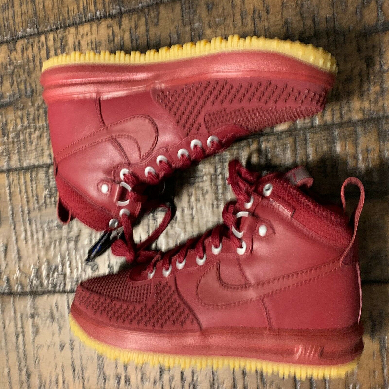 Rare Nike Lunar Force 1 Duckboot 'Team Red&Gum' Size 7.5  805899 600 NO BOX TOP