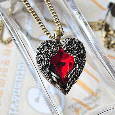 Women Girls Vintage Retro Pendants Red Crystal Angel Wing Heart Chain Necklace