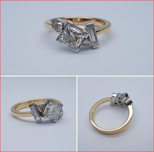 2Ct Princess Cut Moissanite Diamond Bezel Set Engagement Ring 14K Yellow gold