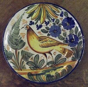 """Ancien Plat Terre Cuite 30 cm Vintage Oiseaux Souvenir de vacances Peint Artiste - France - Commentaires du vendeur : """"voir descriptif"""" - France"""