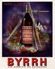 PUBLICITE BYRRH PARIS EN FETE MONUMENTS VIN QUINQUINA SIGNE FALCUCCI DE 1952 AD