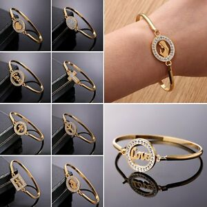 Womens-18K-Gold-Filled-Stainless-Steel-Crystal-Cuff-Bracelet-Bangle-Jewellery